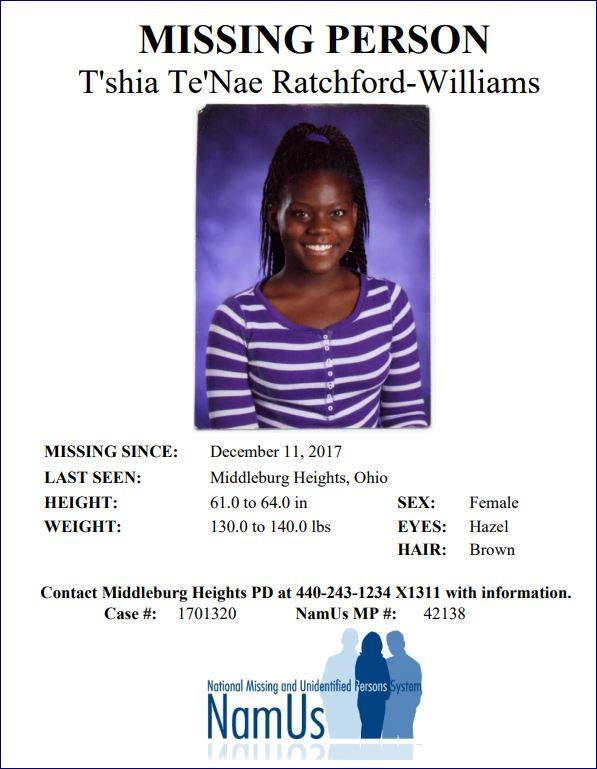 T'shia Te'Nae Ratchford-Williams Disappeared From Cuyahoga Falls