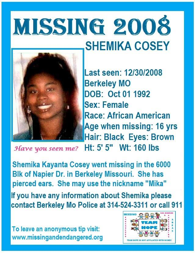 Shemika Cosey, 16, Has Been Classified As A Runaway Since 2008